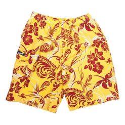Boardshorty w kolorze żółto-czerwonym. Czerwone kąpielówki męskie marki Ciepło i przytulnie, l. W wyprzedaży za 119,00 zł.
