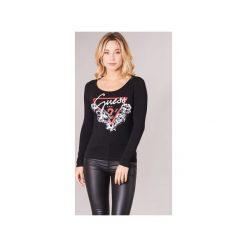 T-shirty z długim rękawem Guess  GRETAN. Czarne t-shirty damskie Guess, l, z aplikacjami. Za 159,00 zł.