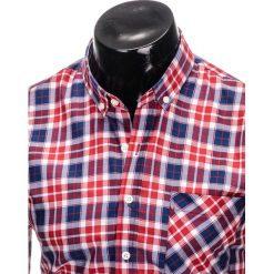 KOSZULA MĘSKA W KRATĘ Z DŁUGIM RĘKAWEM K393 - CZERWONA. Czerwone koszule męskie na spinki marki Ombre Clothing, m, z długim rękawem. Za 49,00 zł.