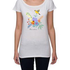 Koszulka damska. kwiaty i ptaki. Szare bluzki nietoperze marki Pakamera, w kwiaty. Za 85,00 zł.