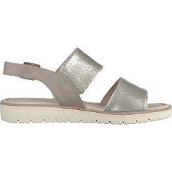Rzymianki damskie: Skórzane sandały w kolorze srebrnym