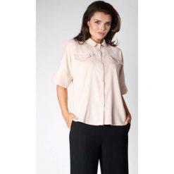 Beżowa Oversizowa Koszula z Szerokim Rękawem do Łokcia. Szare koszule damskie marki Sinsay, l, z dekoltem na plecach. W wyprzedaży za 119,88 zł.