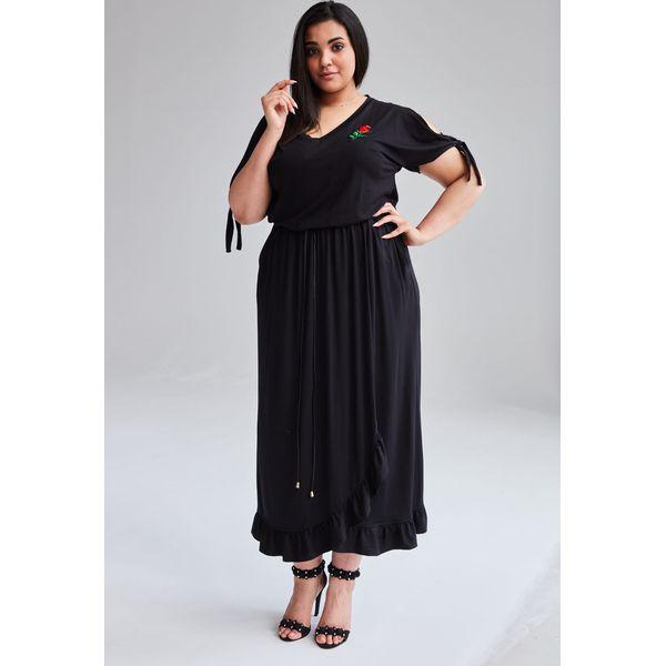 51759b0f Czarna Sukienka Laura MAXI duże rozmiary OVERSIZE PLUS SIZE WIOSNA