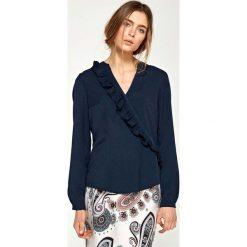 Bluzki, topy, tuniki: Granatowa Koszulowa Bluzka z Asymetryczną Falbanką