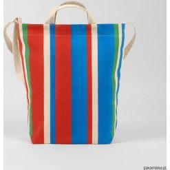 Ekologiczna torba na zakupy w kolorowe pasy. Szare torby na ramię męskie Pakamera, w kolorowe wzory. Za 269,00 zł.