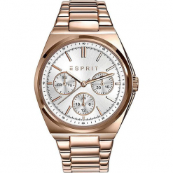 Zegarek kwarcowy w kolorze srebrno-różowozłotym. Żółte, analogowe zegarki damskie Esprit Watches, ze stali. W wyprzedaży za 272,95 zł.
