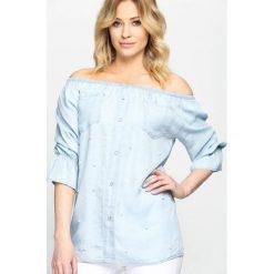 Niebieska Bluzka Vernal Vibe. Niebieskie bluzki z falbaną marki Born2be, m, z falbankami. Za 69,99 zł.