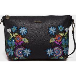 Desigual - Torebka. Czarne torebki klasyczne damskie Desigual, w paski, z poliesteru, średnie. Za 249,90 zł.