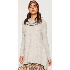 Długi sweter z golfem - Szary. Szare golfy damskie Reserved, l, z długim rękawem. Za 119,99 zł.