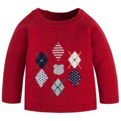 Sweter w kolorze czerwonym. Różowe swetry chłopięce marki Mayoral, z bawełny, z okrągłym kołnierzem. W wyprzedaży za 74,95 zł.