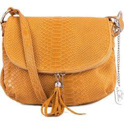 Torebki klasyczne damskie: Skórzana torebka w kolorze żółtym - 28 x 20 x 8 cm