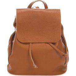 Plecaki damskie: Skórzany plecak w kolorze jasnobrązowym – 36 x 40 x 13 cm