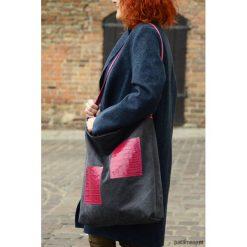 Shopper Gray&Pink. Różowe shopper bag damskie Pakamera, w paski, z bawełny. Za 130,00 zł.