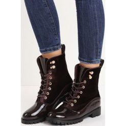 Brązowe Botki Big City Life. Brązowe buty zimowe damskie Born2be, z weluru, militarne, na niskim obcasie, na sznurówki. Za 89,99 zł.