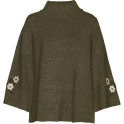Swetry klasyczne damskie: Sweter z haftem bonprix ciemnooliwkowy