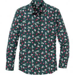 Koszula z długim rękawem i nadrukiem Regular Fit bonprix głęboki zielony z nadrukiem. Białe koszule męskie marki bonprix, z klasycznym kołnierzykiem, z długim rękawem. Za 74,99 zł.