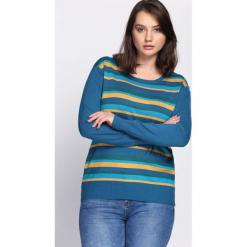 Niebieski Sweter Handbook. Niebieskie swetry klasyczne damskie Born2be, na jesień, xl. Za 29,99 zł.