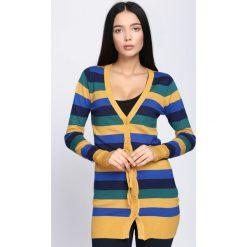 Kardigany damskie: Żółto-Granatowy Sweter Miracles