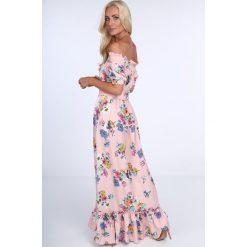 Sukienka maxi w kwiaty z paskiem jasnoróżowa ALZ3242. Białe długie sukienki marki Fasardi, l. Za 149,00 zł.