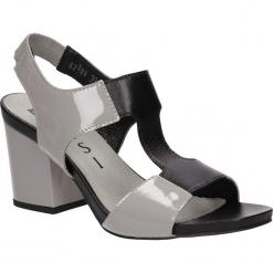 SANDAŁY NESSI 82306. Czarne sandały damskie marki Nessi, z materiału, na obcasie. Za 189,99 zł.
