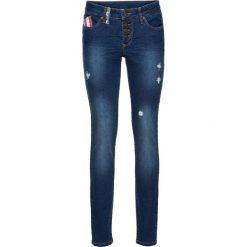 """Dżinsy SKINNY z naszywaną flagą bonprix niebieski """"stone"""". Niebieskie jeansy damskie marki House, z jeansu. Za 79,99 zł."""