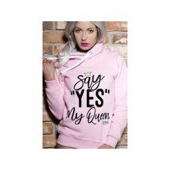 Bluza Say Yes my Queen. Czerwone bluzy z nadrukiem damskie marki ŁAP NAS, l, z bawełny. Za 169,00 zł.