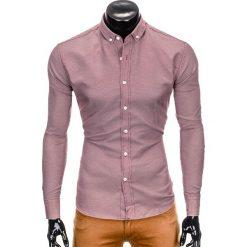 KOSZULA MĘSKA Z DŁUGIM RĘKAWEM K401 - BORDOWA. Czerwone koszule męskie na spinki Ombre Clothing, m, z długim rękawem. Za 69,00 zł.