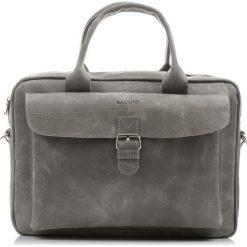 Szara SKÓRZANA TORBA NA LAPTOPA BALEINE. Szare torby na laptopa marki Baleine, w paski, ze skóry. Za 449,00 zł.