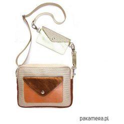 Torebka Double Bag zlota plecionka brązy złoto. Żółte torebki klasyczne damskie Pakamera, ze skóry. Za 479,00 zł.