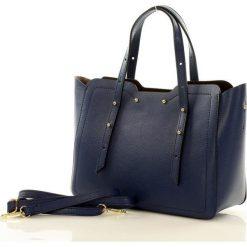 Torebka włoska kuferek skóra CAROLINE - niebieski. Niebieskie kuferki damskie marki MAZZINI, w geometryczne wzory, ze skóry. Za 319,00 zł.