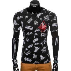 T-shirty męskie: T-SHIRT MĘSKI Z NADRUKIEM S974 - CZARNY