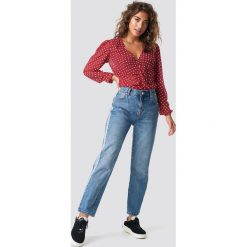 MANGO Proste jeansy z panelami - Blue. Niebieskie boyfriendy damskie Mango, w kolorowe wzory, z denimu. Za 161,95 zł.