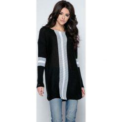 Tuniki damskie z długim rękawem: Czarny Długi Sweter -Tunika z Kontrastowymi Paskami