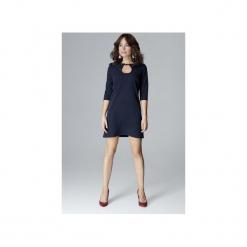 Sukienka L001 Granat. Niebieskie sukienki z falbanami marki Lenitif, na imprezę, l, trapezowe. Za 159,00 zł.
