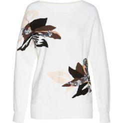 """Sweter z rękawami """"nietoperz"""" bonprix biel wełny - jasnobrązowo-srebrny. Białe swetry klasyczne damskie marki bonprix, z wełny. Za 59,99 zł."""