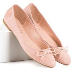 Baleriny damskie: Różowe zamszowe baleriny JULIETA