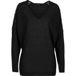 Swetry klasyczne damskie: Sweter z gładkiej dzianiny z koronką bonprix czarny