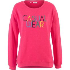 Bluza z nadrukiem bonprix różowy hibiskus z nadrukiem. Czerwone bluzy z nadrukiem damskie marki bonprix. Za 27,99 zł.