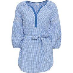 Długa tunika bonprix lodowy niebieski - biały w kratę. Niebieskie tuniki damskie z długim rękawem bonprix. Za 79,99 zł.
