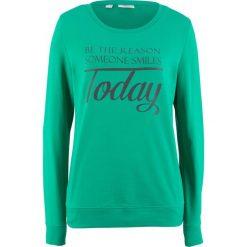 Bluza dresowa bonprix szmaragdowy z nadrukiem. Zielone bluzy z nadrukiem damskie bonprix, z dresówki. Za 34,99 zł.