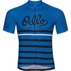 Odzież rowerowa męska: Odlo Koszulka rowerowa Stand-up collar s/s full zip Fujin Print niebieska r. L (411442)