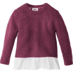 Sweter dzianinowy z falbaną bonprix jeżynowy melanż - biały. Fioletowe swetry dziewczęce marki bonprix, z dzianiny, z okrągłym kołnierzem. Za 27,99 zł.