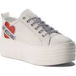 Sneakersy LOVE MOSCHINO - JA15056G16IB0100  Bianco. Białe sneakersy damskie Love Moschino, z materiału. Za 929,00 zł.