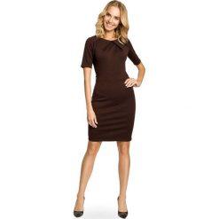 Sukienki: Brązowa Elagancka Sukienka z Zakładkami przy Dekolcie
