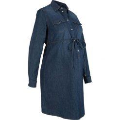 """Sukienka bawełniana dla ciężarnych i karmiących piersią bonprix ciemnoniebieski """"stone"""". Niebieskie sukienki ciążowe marki bonprix, w paski, z bawełny, z dekoltem w serek, moda ciążowa, plisowane. Za 99,99 zł."""