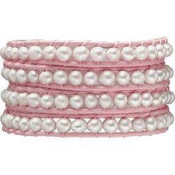 Bransoletki damskie: Skórzana bransoletka w kolorze jasnoróżowo-białym z hodowlanymi perłami słodkowodnymi