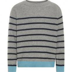 """Sweter """"Odims"""" w kolorze granatowo-szarym. Szare swetry chłopięce marki Name it Kids, w paski, z bawełny, z okrągłym kołnierzem. W wyprzedaży za 42,95 zł."""