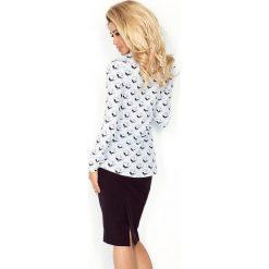 Koszula z KIESZONKAMI - biała + czarne KOTY. Czarne koszule damskie marki morimia, s, biznesowe. Za 129,99 zł.