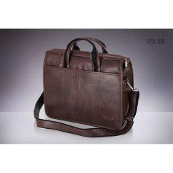 Torby na ramię męskie: Brązowa męska torba na ramie, laptopa SOLIER LUCAS