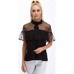 Bluzki asymetryczne: Czarna bluzka z szyfonem 21230